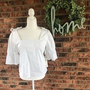 {JUNE&HUDSON} NWT White Bell Sleeve Work Blouse